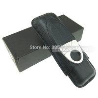 Cohiba Black Leather 2 Tube Cigar Holder Case Cutter Set Crocodile Pattern