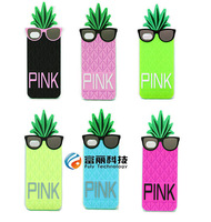 3D Cute Cartoon Fashion Victoria Silicone Pineapple Fruit Case Cover for iphone 6 6G iphone6,10pcs/lot