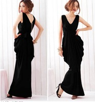 Women Casual Fashion Sexy V-neck Collar Tied Bow Belt Decorated Draped Waistline 2 Color Long Dress