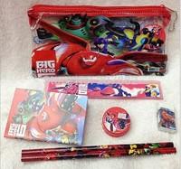 Free Shiping! 120pcs/lot 2015 Fashion 6 IN 1 Big Hero 6 Baymax Stationery Set Cartoon School Set Gift Toy A107 Wholesale