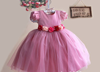2015 girl dress children Pm lace flwoer dress pink dress princess girl dress children clothing kids summer girl clothes bow