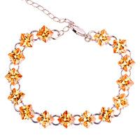 2015 New Champagne Morganite 925 Silver Bracelet Fashion Jewelry For Women Free Shipping Wholesale 17.5-23.5CM