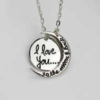I love you to the moon and back sun and Moon Necklace hot new Europe and USA Hot Selling Style
