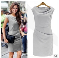 2015 Spring New Short Sleeve Women Dresses  Irregular O-Neck Collar OL Draped Party Dresses Grey/Black Y/2313