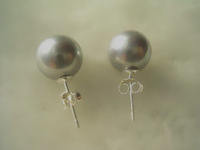 10mm gray mother of pearl 925 silver stud earring