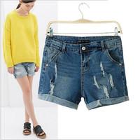 Women's Brand Ripped Button Fly Trendy Shorts Plus Size XL Spring Autumn Causal Street Denim Mini Shorts