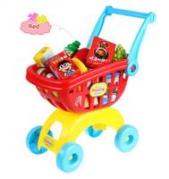 Miniature Furniture 2014 House Toy Trolley Supermarket Children Kid Shopping Cart Pretend Play Kitchen Girl's Christmas Gift