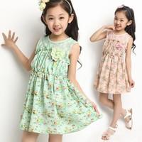 EMS DHL Free shipping Girls Kids sweet girls Lace Floral Princesss Chiffon Dress Holiday Pink Green party Lace dress 120-160