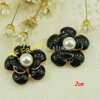 2cm black flower alloy flat back for handmade packing embellishments 20pcs/lot