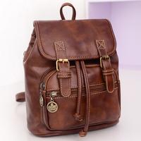 High quality genuine leather backpacks vintage shoulder bag for women lady girl free shipping