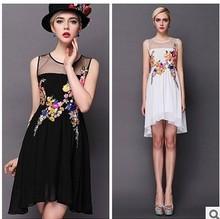 2015 Summer Sleeveless Women  Dress Lace Embroidery Flowers Patterns Organza Summer  Dress Princess Vintage Dress White/Black(China (Mainland))