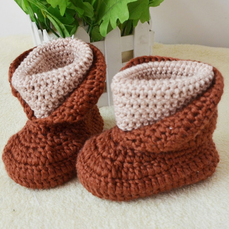 Fashion 1-12 Month Baby Hand Woven High Cylinder Baby Shoes Soft Bottom Shoes Ice Velour Baby Shoes Coffee(China (Mainland))