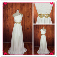 Real Photos A-line One Shoulder Sleeveless Chiffon Floor Length Beaded Pleat White Bridesmaid Dress
