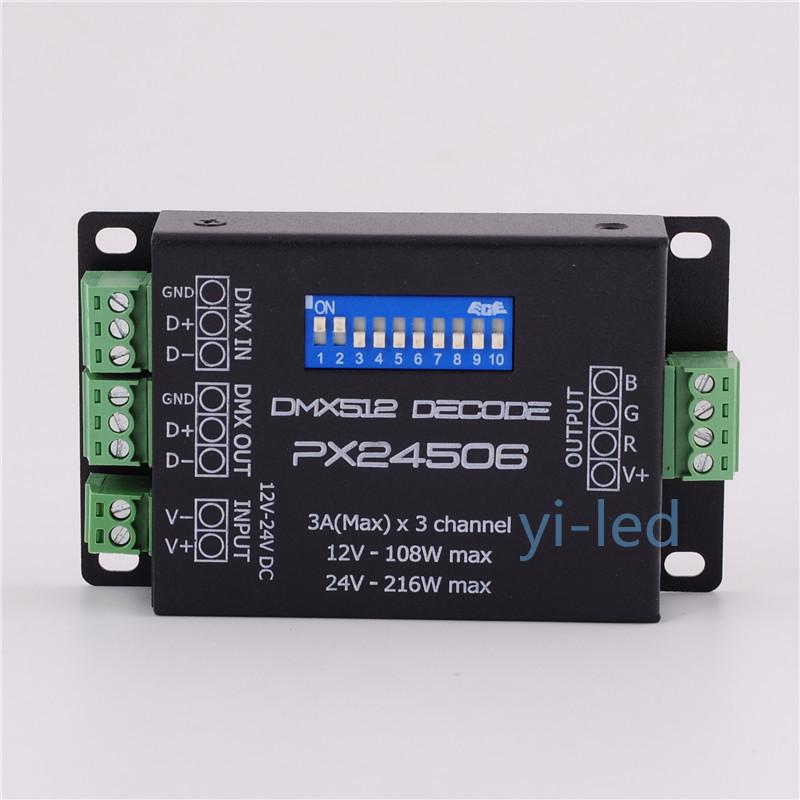 Wholesale 10pcs PX24506 DMX Decoder Driver RGB Amplifier Controller For 5050 3528 RGB LED Strip Light DC12-24V(China (Mainland))