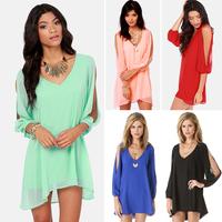 2015 hot summer women Elegant Sweet Candy Colors Chiffon Dresses Female V-neck Plus Size casual Dress Free Shipping S/M/L/XL/XXL