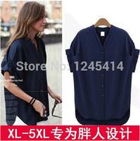 XL-5XL Plus size Fashion Summer loose Blusas femininas 2014 Batwing sleeve Dark blue slim women shirts blouses