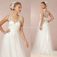 New Arrival 2015 New Fashion Romantic A Line V Neckline Lace Tulle Sweep Train Wedding Dress Vestido De Novia