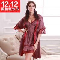 Autumn sexy nightdress noble bow faux silk women's home twinset sleepwear
