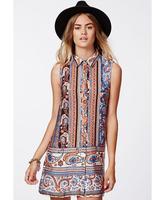 2015 New arrival lady's bohemian style straight chiffon dress sleeveless turn-down collar printing causal dress free shipping