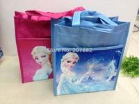 50pcs/lot! Wholesale 2015 Fashion Character Elsa And Anna Student Lunch Bag Cartoon Children Handbag A105Free Shipping