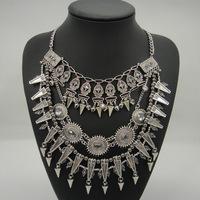 Vintage silver Layers Rivets Choker statement Pendant necklace Fashion Jewelry Necklace Geometric Bib Chain for women