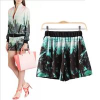 Women's Brand Palm Tree Print Trendy Shorts Women Elastic Waist Shorts Causal Breach Tops Spring Summer