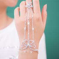 Wedding gloves Colour bride accessories bling rhinestone bracelet bridal bracelet ring one piece chain