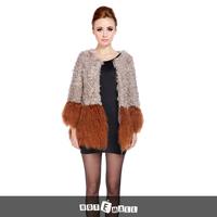2015 new arrival free shipping women winter natural underwear pocket 100 % real lamb fur coat long garment contrast color hot