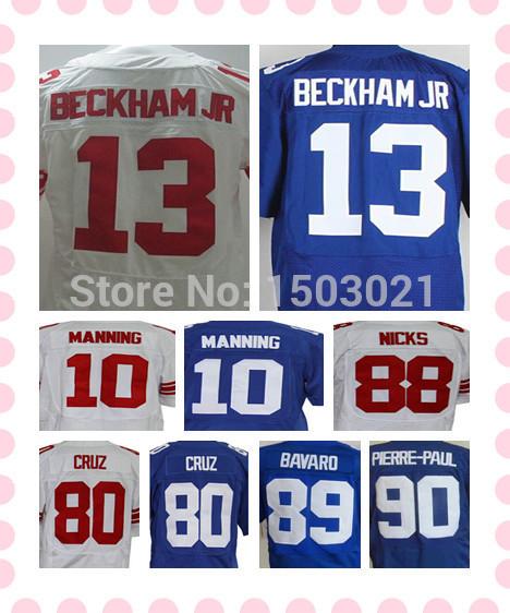 Blue/White NYG 10 Eli Manning Football Jersey Stitched Mens 13 Odell Beckham Jr 80 Victor Cruz 88 Hakeem Nicks Sports Jersey(China (Mainland))