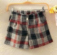 Hot Sale 2015 Women Fashion Plaid Mid Waist Boots Shorts Lady Preppy Plaid Wool Boots Shorts 3401