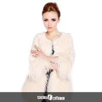 2015 free shipping natural lamb fur coat women fashion underwear long garment o neck pocket garment hotsell coat new arrival