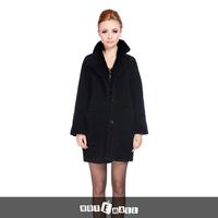 2015 new arrival free shipping women winter fashion natural lamb fur coat thick pocket turn down collar warm women fur coat long