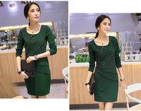 Fat mm large size women 15 new models in the spring of 8842 Korean version of the OL temperament Slim thin zipper dress women