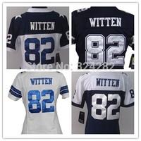2014-15 Stitched 82 Jason Witten White/Blue Authentic Women Football Jerseys Size:S-XXL