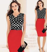 European and American women's fashion stitching temperament dresses Polka Dot Pencil Dresses with free belt S-XXL
