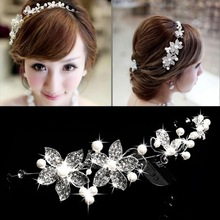 New Brand Crystal Pearl Bridal Headband Beauty Bridal Head Flower Headwear Wedding Tiara Silver E#CH