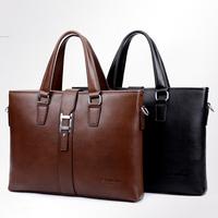 Retail 2015 High Quality Men's Travel Bags Brand Handbag Black/Brown Shoulder Bag Men's Briefcase Leather Messenger Bag K-15