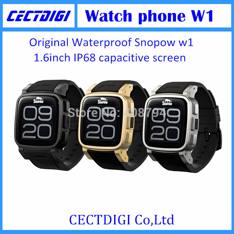 New smart watch phone snopow w1 IP68 GSM cell phone NUCLEUS MTK6260A waterproof watch phone bluetooth watch touch screen(China (Mainland))