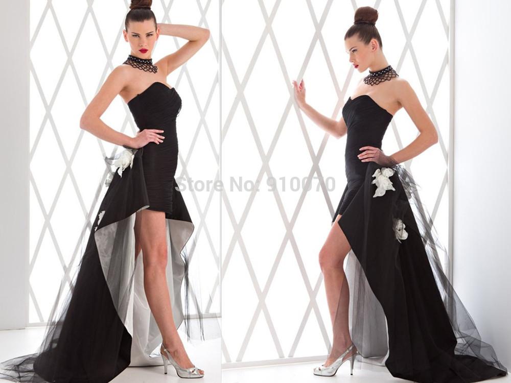 2015 Custom Made Sweetheart Vestidos Party Queen High/Low Prom Dresses/Elegent Appliques Black Short Evening Dresses ED241(China (Mainland))