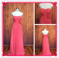 Custom Made A-line Sweetheart Floor Length Ruched Flower Chiffon Watermelon Red Bridesmaid Dresses Long 2015