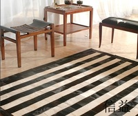Natural cowhide puzzle modular carpet patchwork cowhair horsehair and diy genuine leather rug