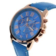 Free Shipping Super Fashion Geneva Watch Roman Numerals Leather Clocks Women Wristwatch GL8821 2015 New 10
