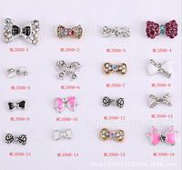 015 Fashion Shiny ! 500pcs Alloy Rhinestone Bowknot nail jewellery 3D Alloy Jewelry Nail Art Tips Decoration (ML3499-3599
