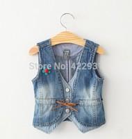 2015 New arrival spring autumn girl denim vest children's clothing kids baby the waistcoat short jacket  vest for baby