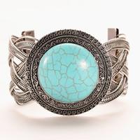 New design hot selling round weave twist bangle tibetan silver chain bracelet/ popular turquoise bangle for woman HCC-B015