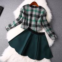 2014 news high quality  Plaid long-sleeved shirt, short skirts suit