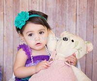 Baby Teal Soft Eyelet Newborn Flower Headband, Baby Girl Large Flower Headband