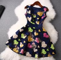 2014 news high quality Bow Slim Printed Sleeveless Dress women dress