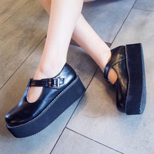 New Arrival Women Black Flats Creeper T-Straps Round Toe High Platform Shoes Sapatos Femininos Size 37-39(China (Mainland))
