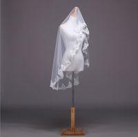 2015 New 100% Real Picture Lace Edge 1.5M Long Vintage Wedding Veil/bridal veil/bridal accessories/head veil WDTS010